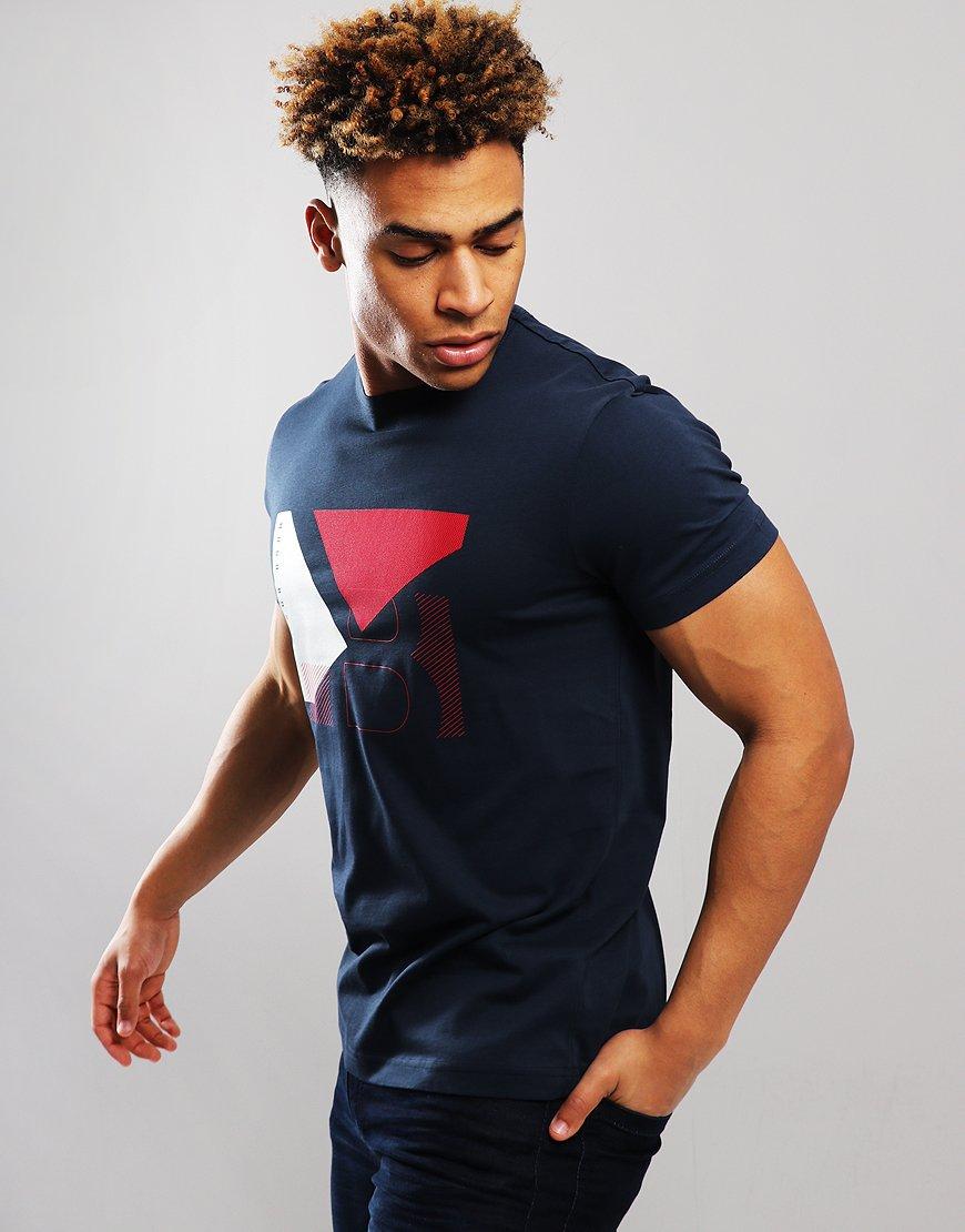 BOSS Cotton Colour-block Artwork T-shirt Navy