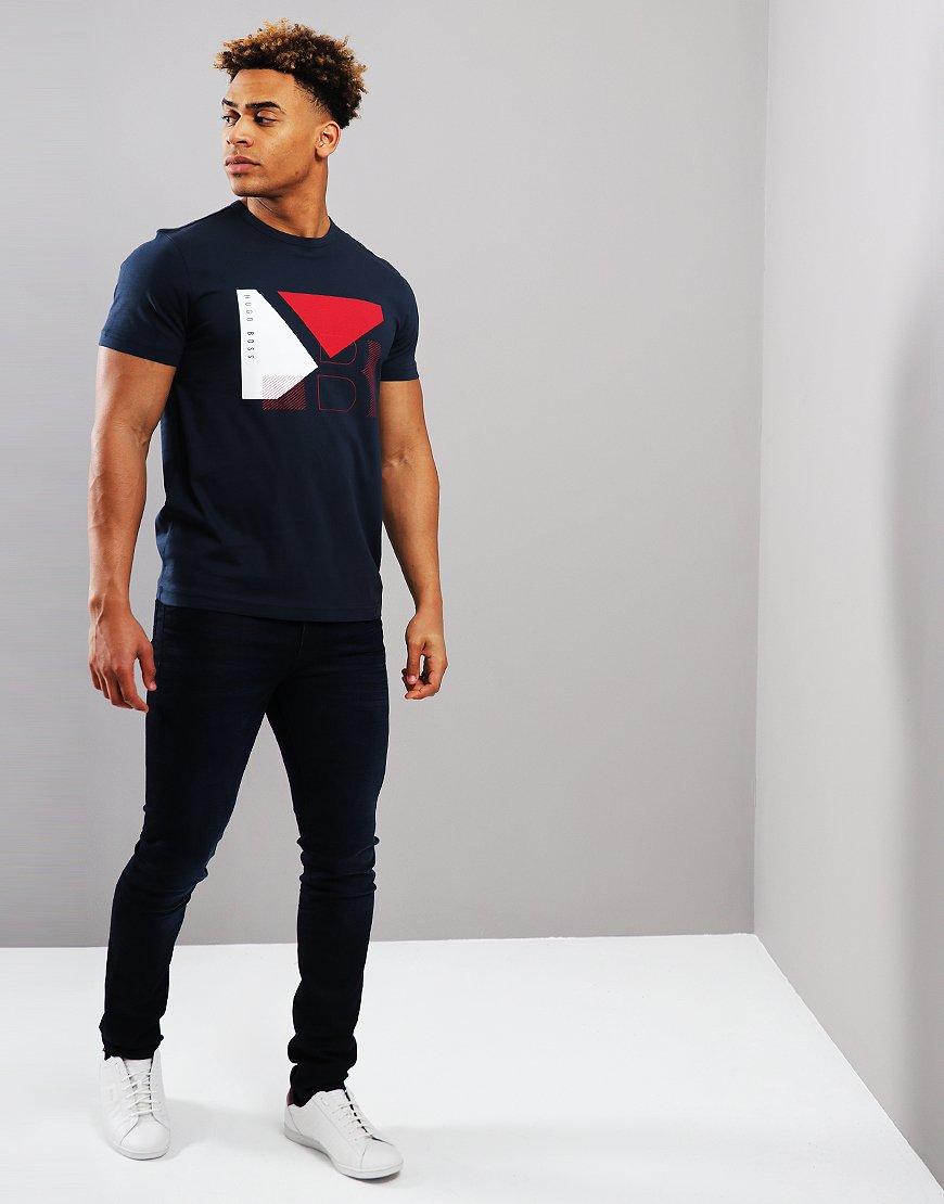 9c0b93a10 BOSS Cotton Colour-block Artwork T-shirt Navy - Terraces Menswear