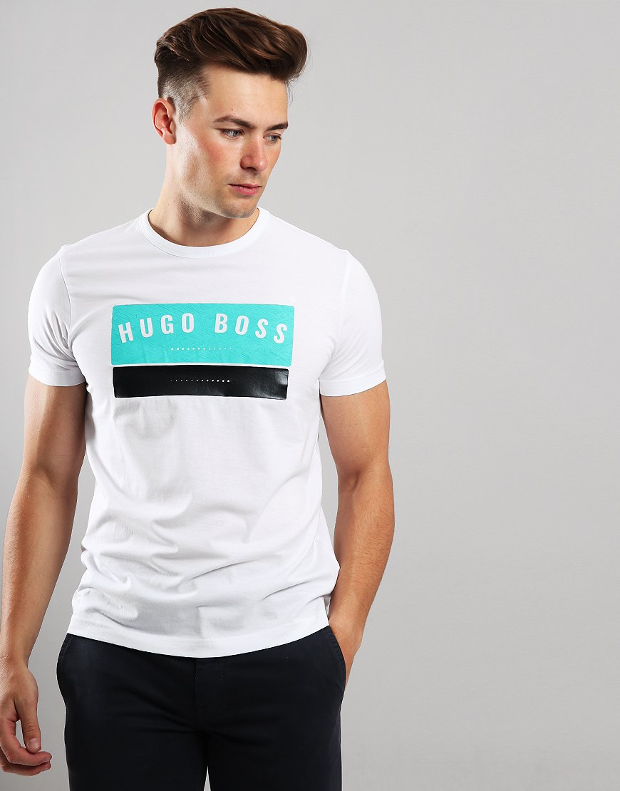 BOSS Tee 1 High Density Logo Artwork T-Shirt White