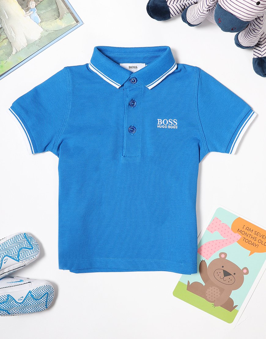 BOSS Baby Tipped Polo Shirt Turquoise