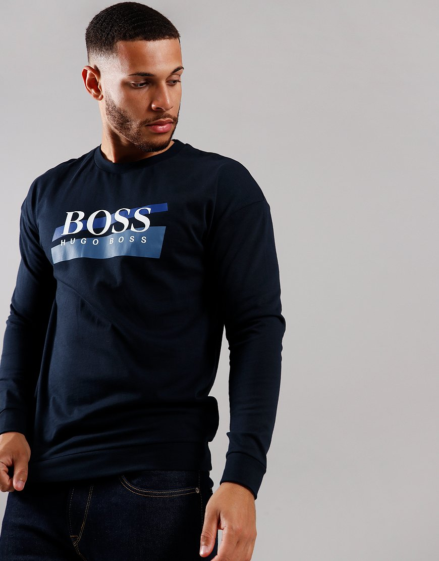 BOSS Authentic Abstract Logo Sweat Dark Blue