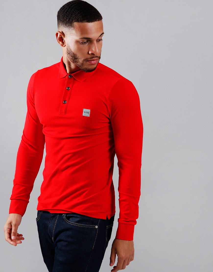 BOSS Passerby Long Sleeve Polo Shirt Bright Red