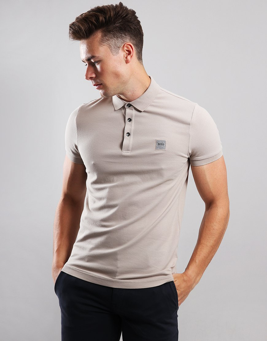 190d1d3ba961 BOSS Passenger Slim Fit Stretch Polo Shirt Light Beige - Terraces Menswear