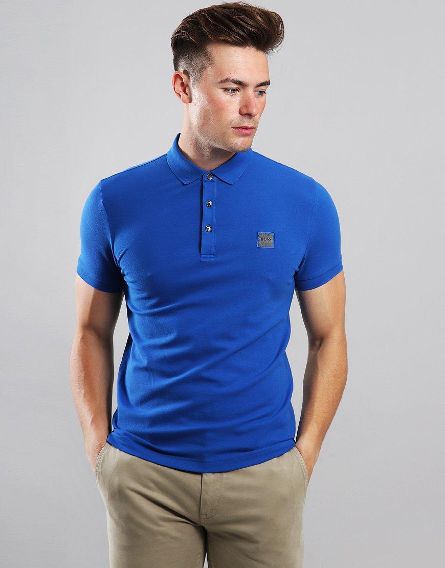 BOSS Passenger Slim Fit Stretch Polo Shirt Medium Blue