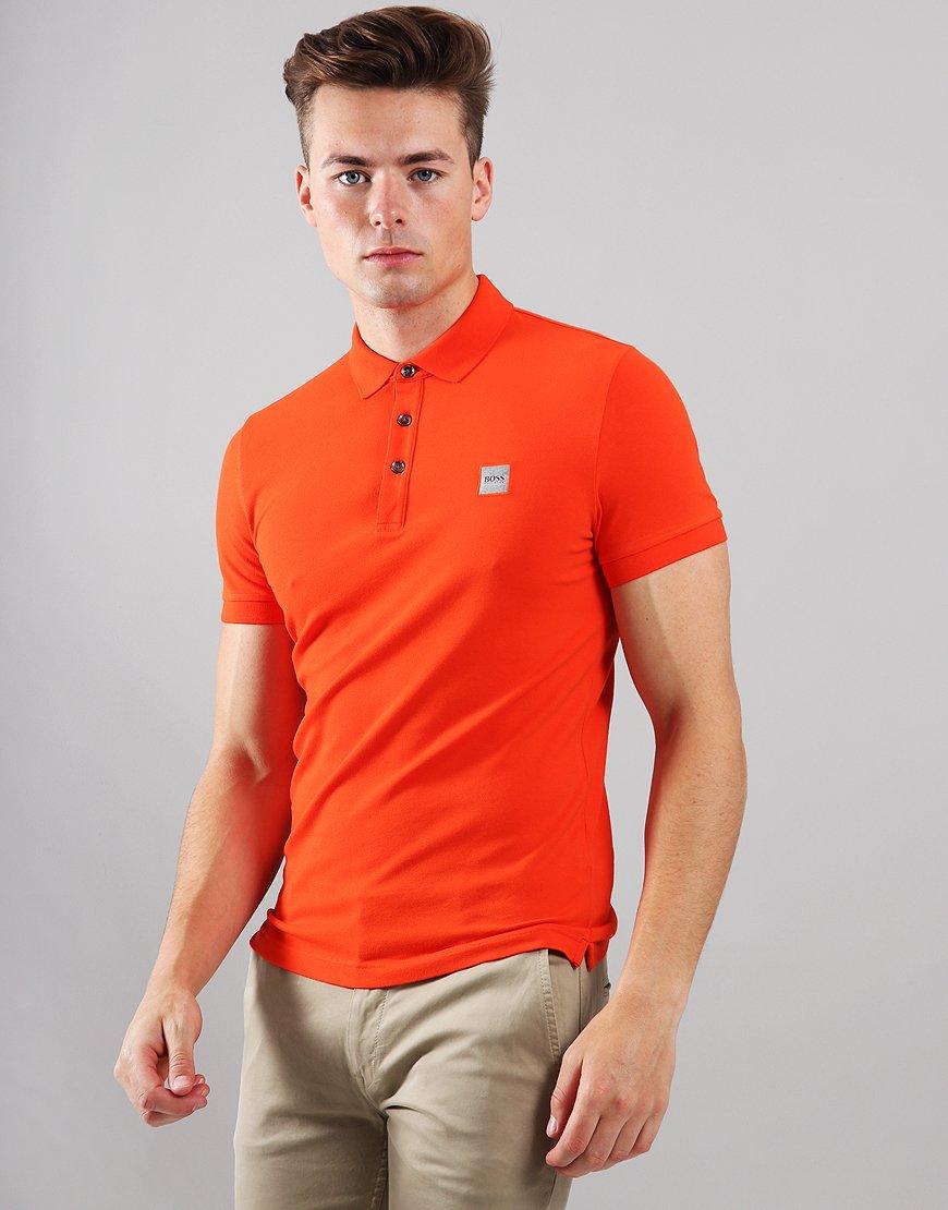 BOSS Passenger Slim Fit Stretch Polo Shirt Open Orange