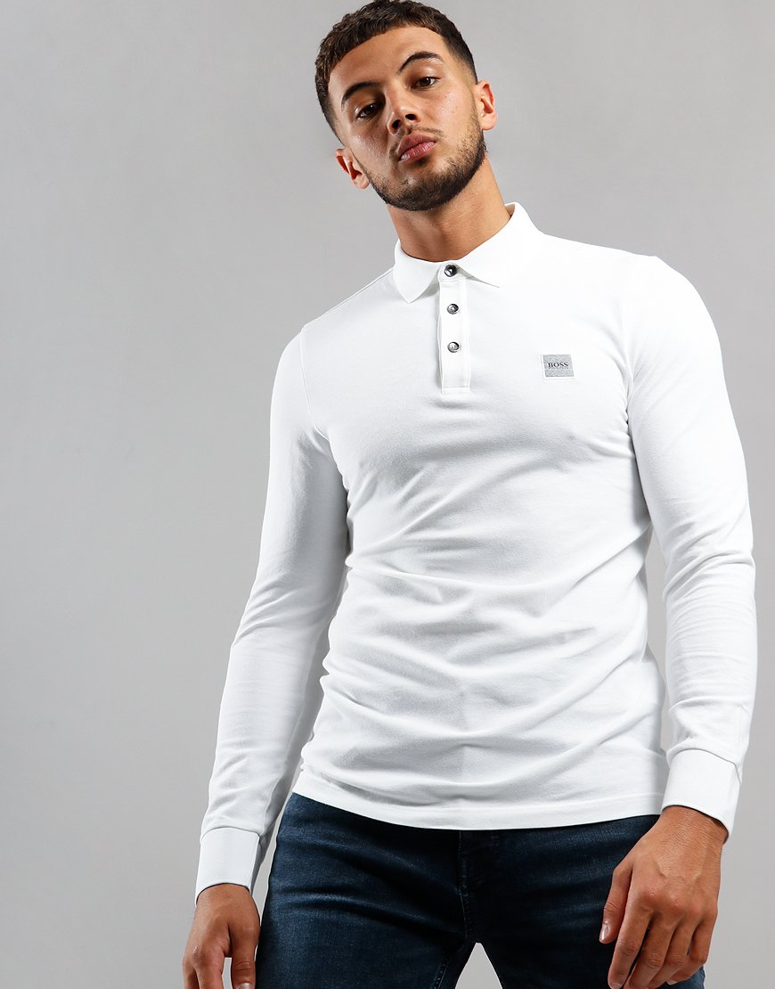 BOSS Passerby Long Sleeve Polo Shirt White