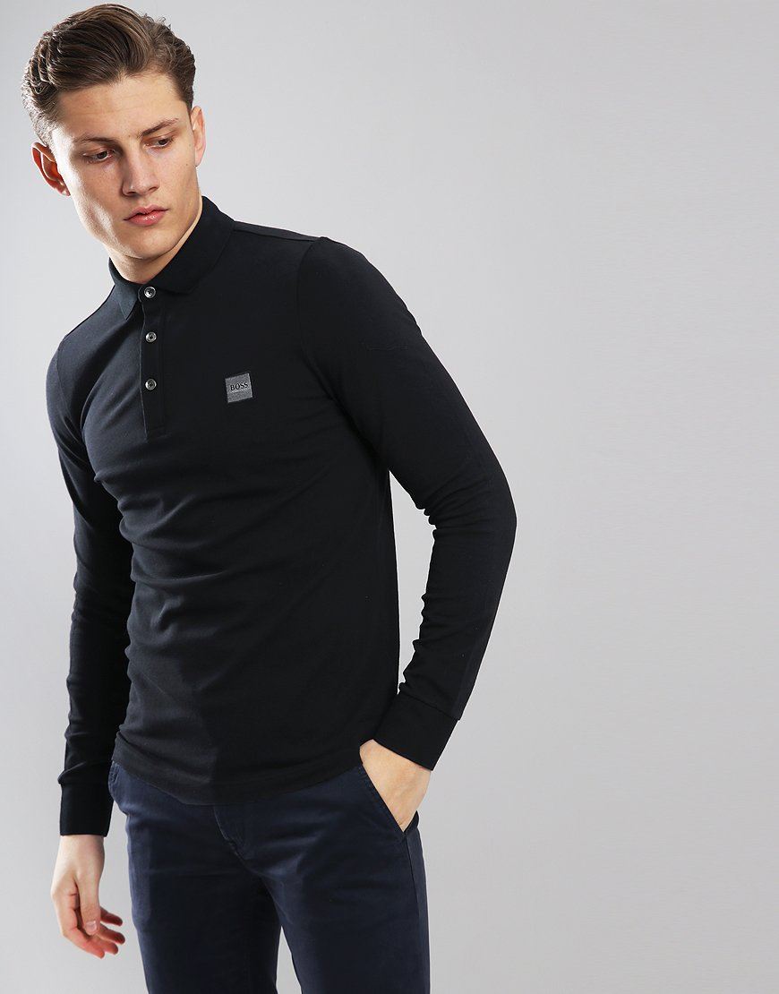 BOSS Passerby Long Sleeve Slim Fit Stretch Polo Shirt Black