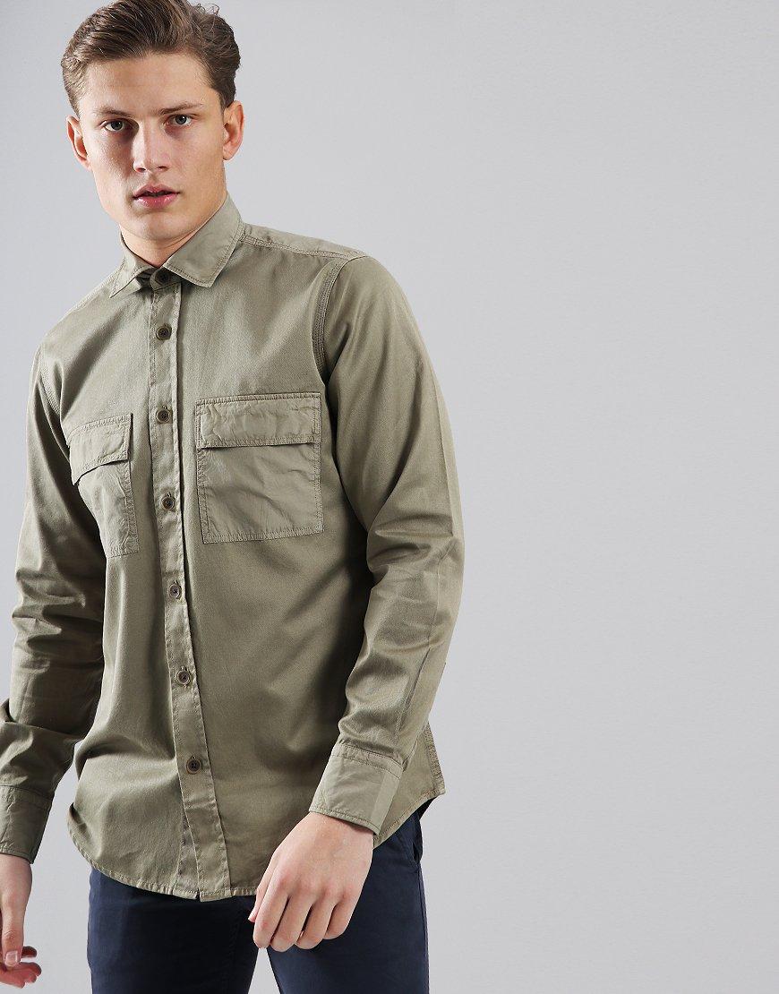 BOSS Rebus Cotton Twill Shirt Medium Beige