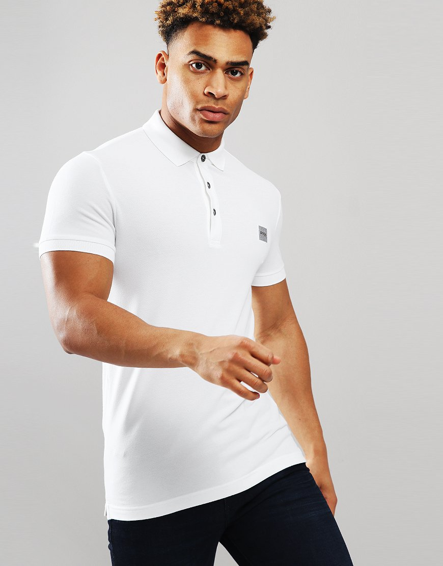 BOSS Passenger Slim Fit Stretch Polo Shirt White