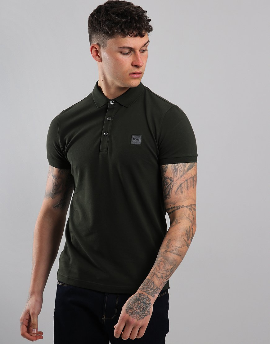 BOSS Passenger Slim Fit Stretch Polo Shirt Open Green