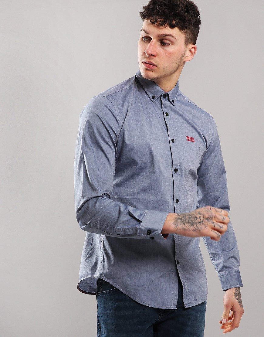 BOSS Biado R Long Sleeve Shirt Open Blue