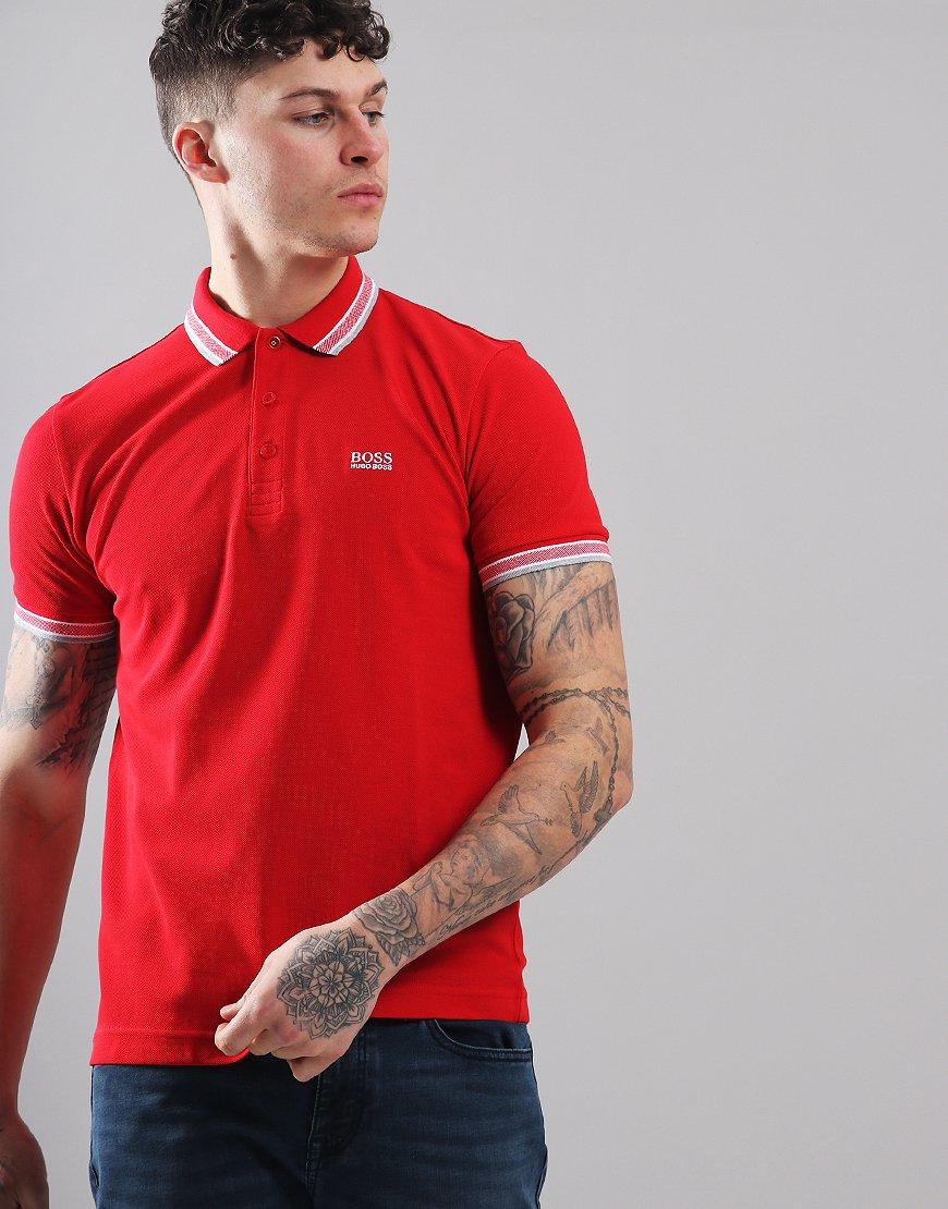 BOSS Paddy Regular Fit Polo Shirt Medium Red