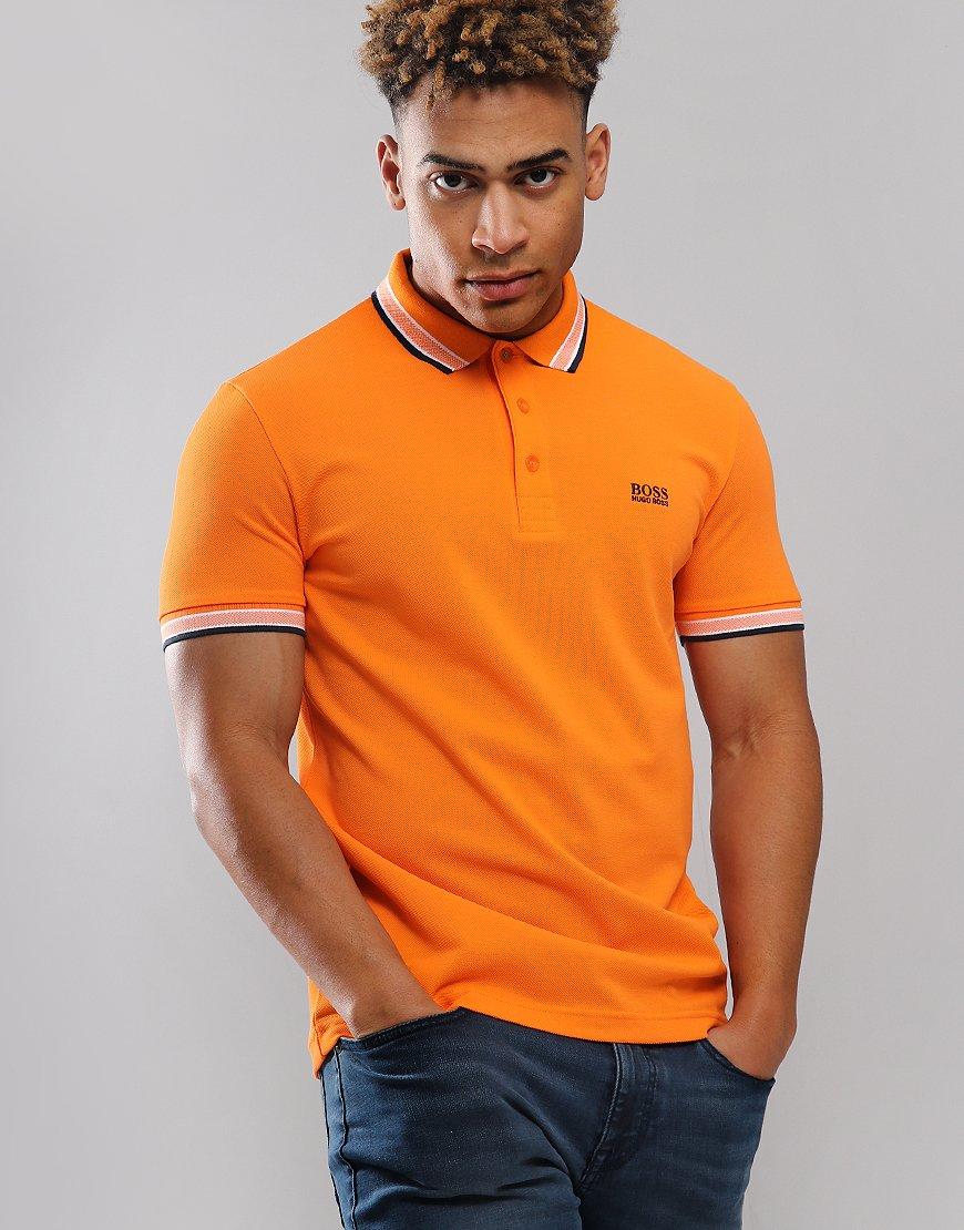 BOSS Paddy Regular Fit Polo Shirt Open Orange