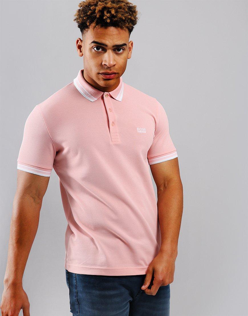 BOSS Paddy Regular Fit Polo Shirt Open Pink