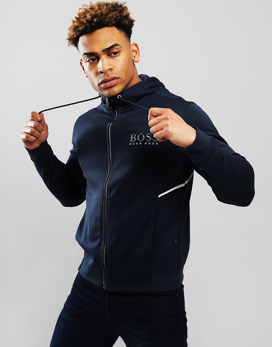 BOSS Saggy Hooded Logo Zip Sweat Navy