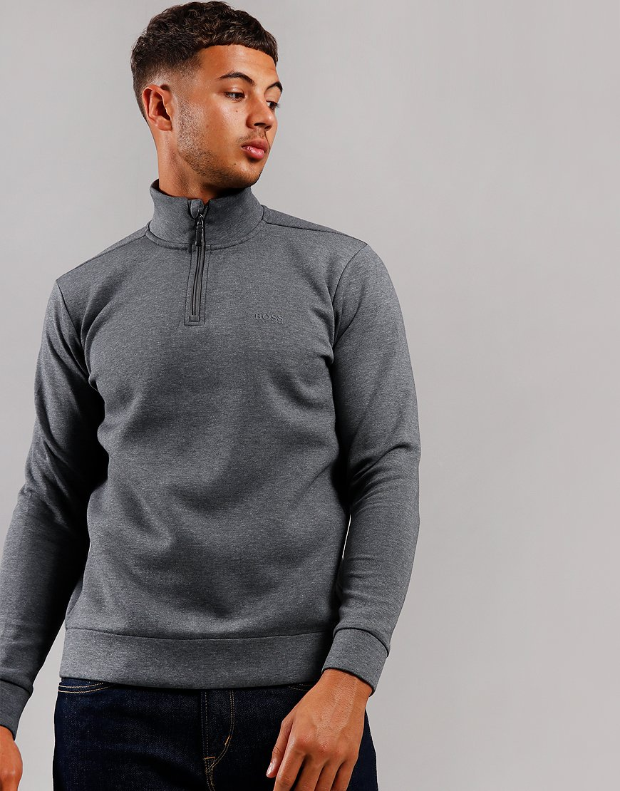 BOSS Sweat X Zip Neck Medium Grey