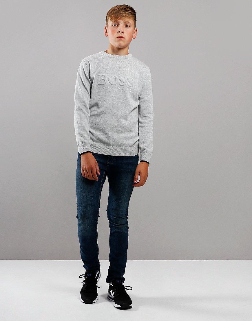 BOSS Kids Embossed Cotton Sweat Light Grey Melange
