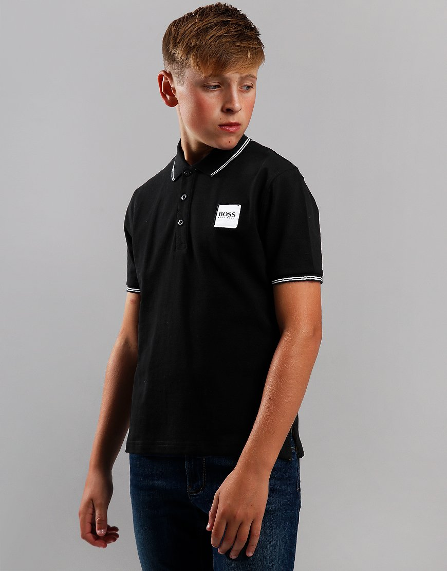 BOSS Kids Cotton Logo Polo Shirt Black