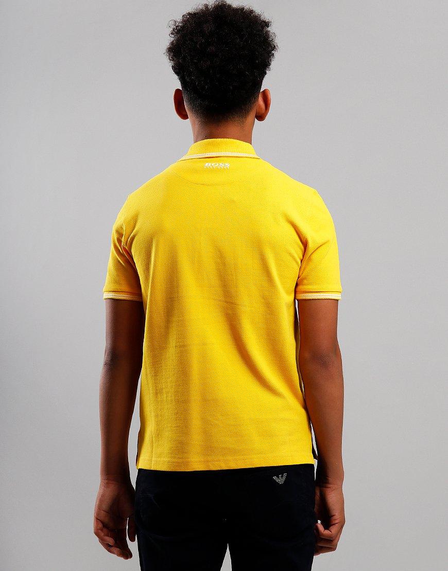 BOSS Kids Cotton Logo Polo Shirt Yellow