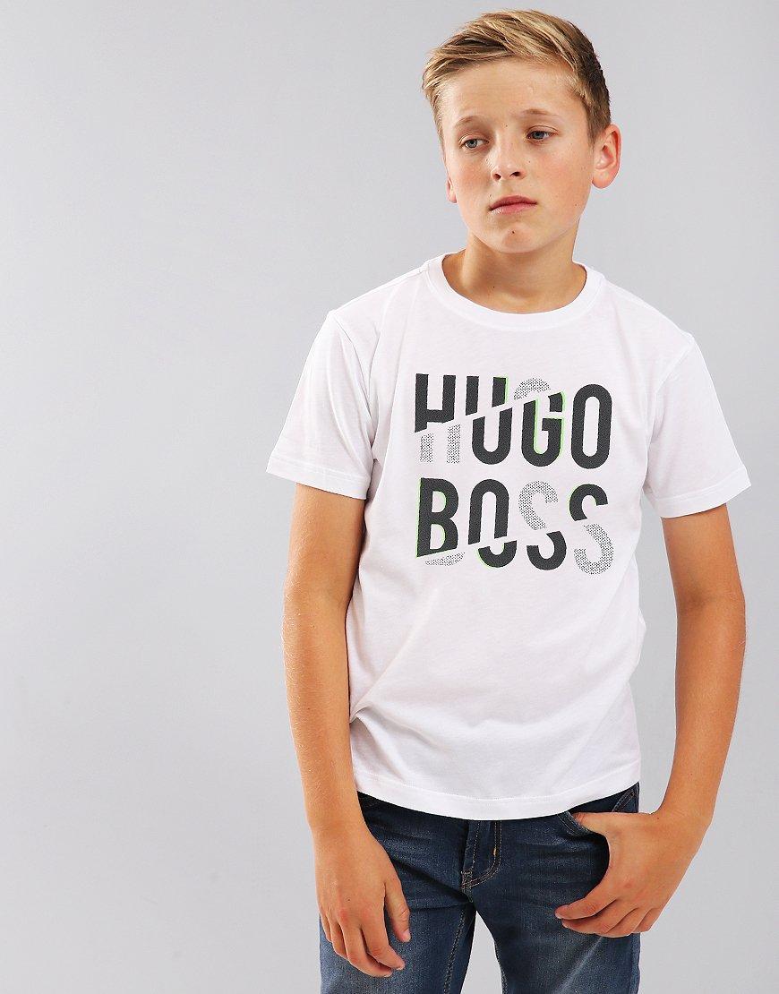 BOSS Kids J25D03 Print Tee White