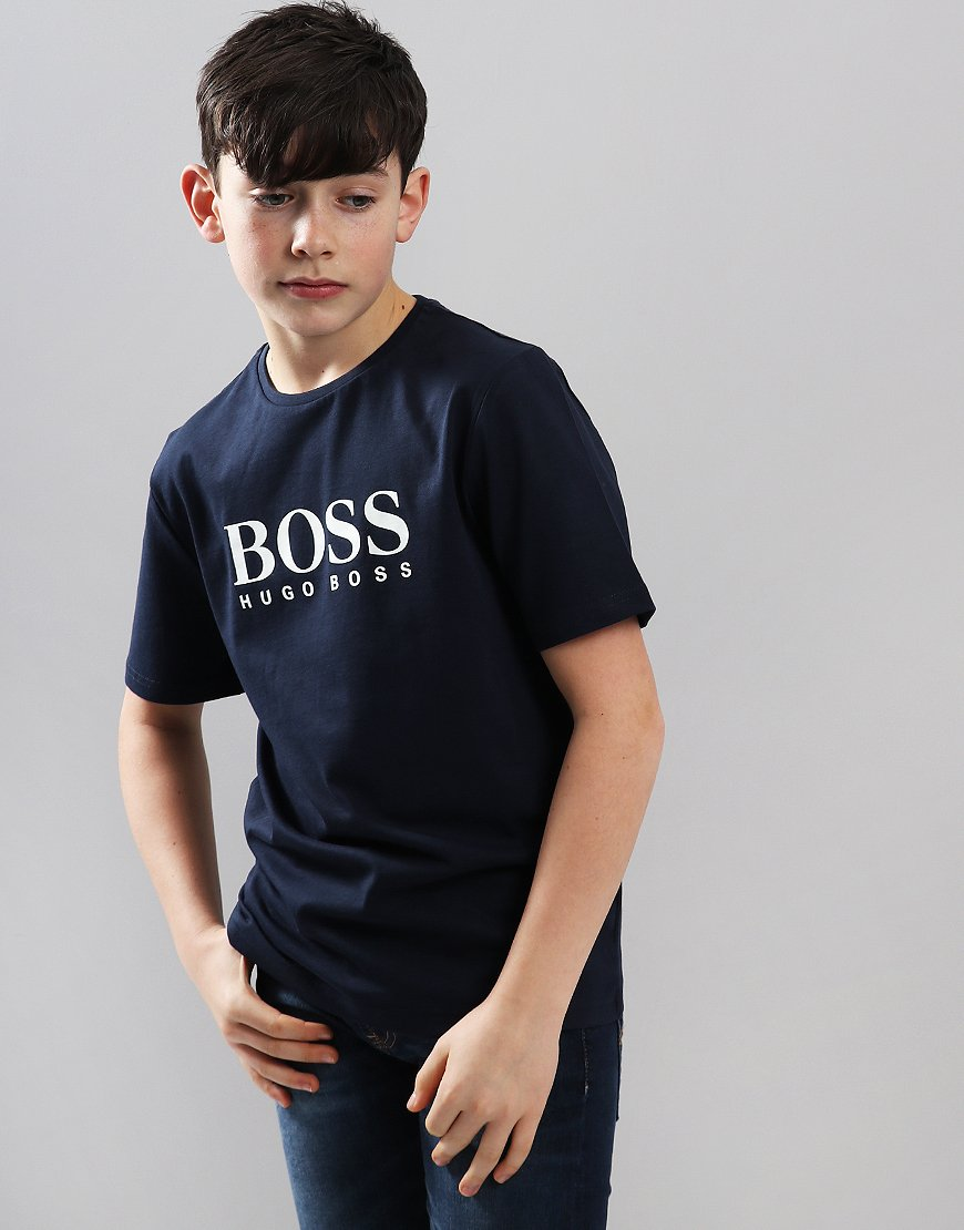 BOSS Kids Print T-Shirt Navy
