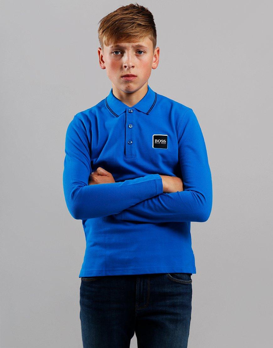BOSS Kids Cotton Logo Long Sleeve Polo Shirt Electric Blue