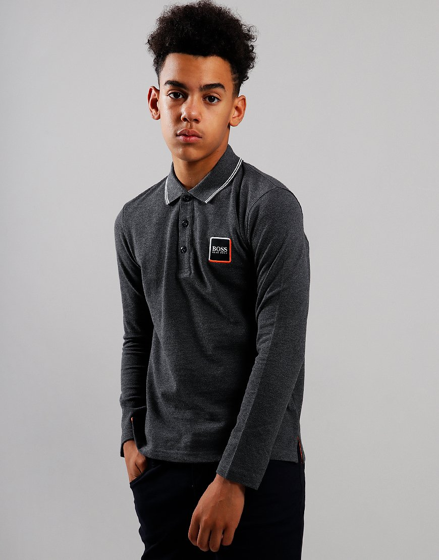 BOSS Kids Cotton Logo Long Sleeve Polo Shirt Heather Grey