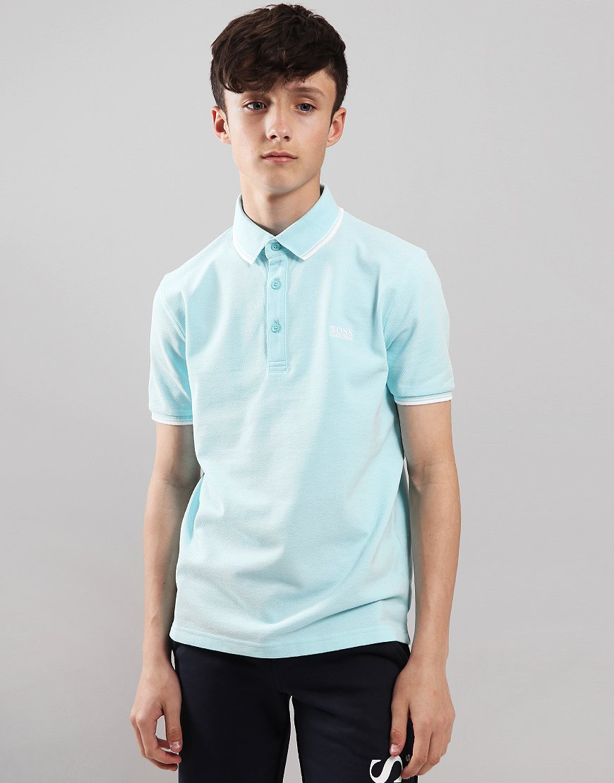 BOSS Kids Tipped Polo Shirt Turquoise