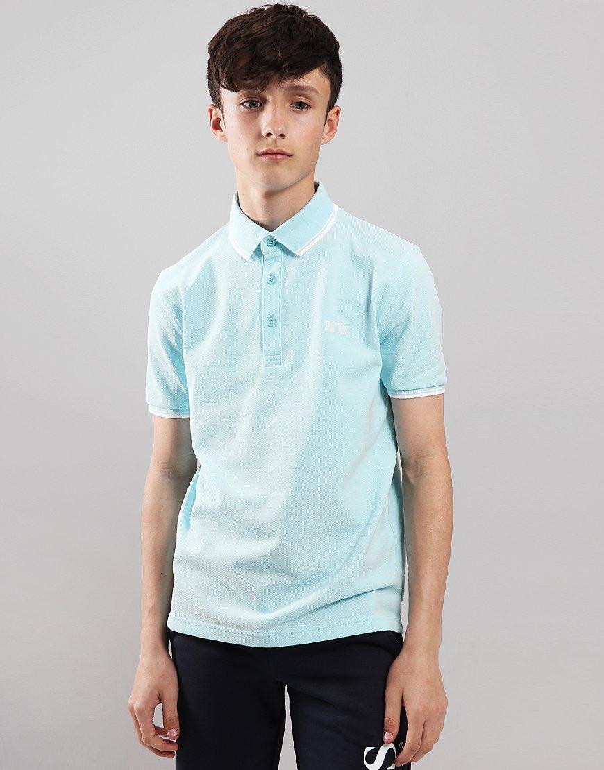 09847e59 BOSS Kids Tipped Polo Shirt Turquoise
