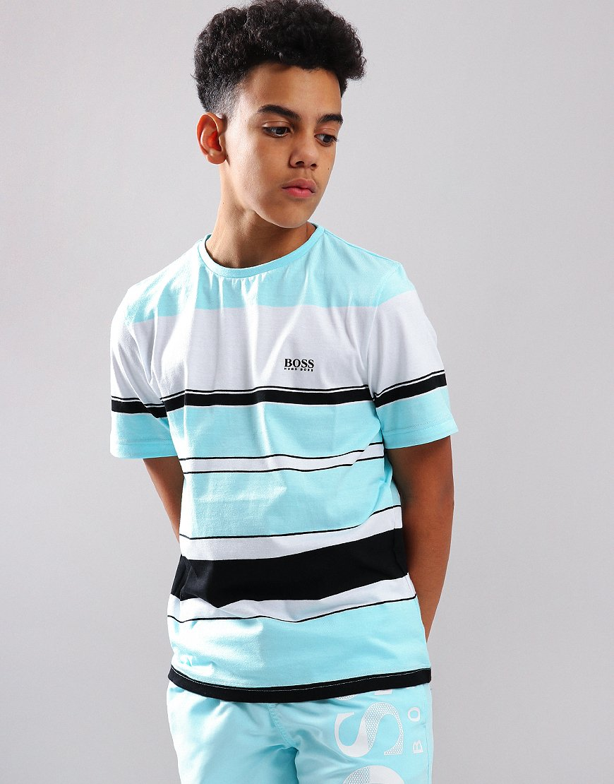 BOSS Kids Stripe T-Shirt Turquoise/Black