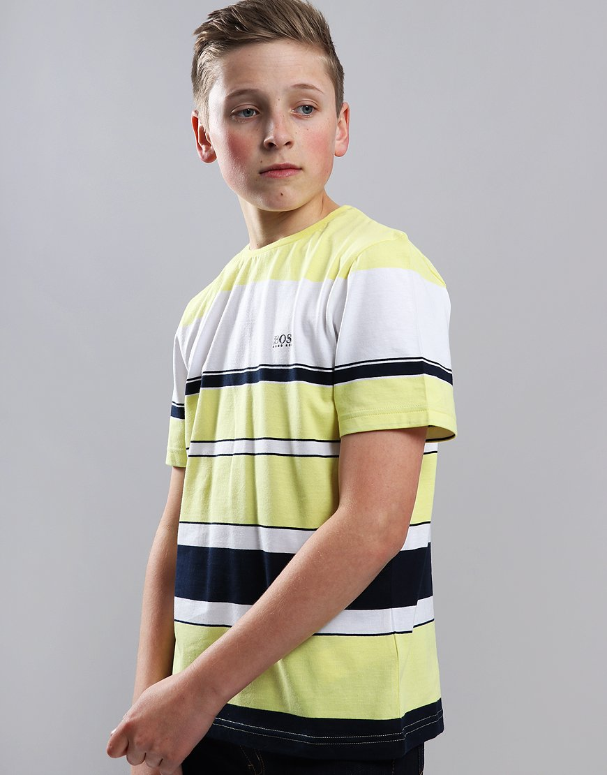 BOSS Kids Stripe T-Shirt Yellow/Blue Navy