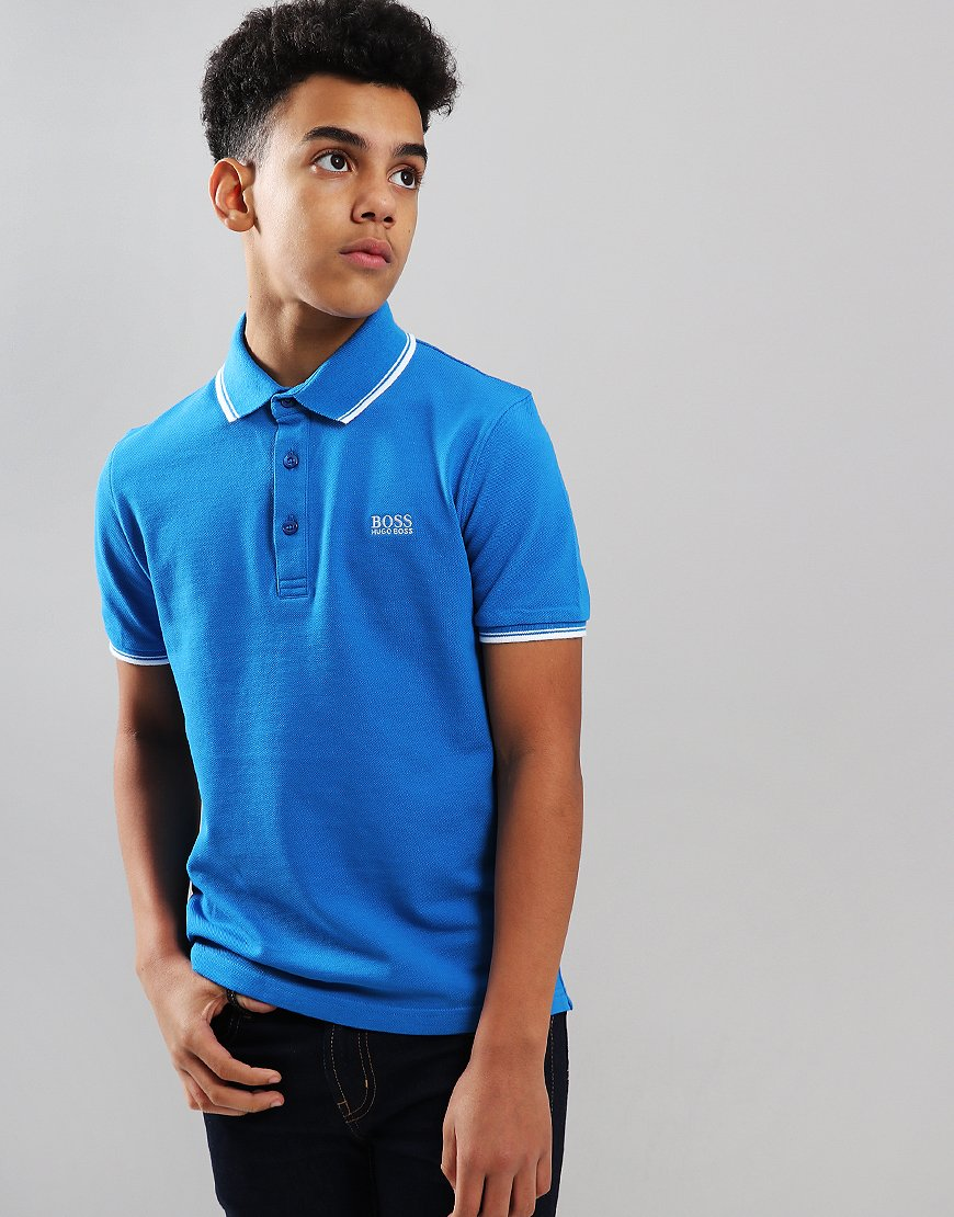 BOSS Kids Tipped Polo Shirt Blue