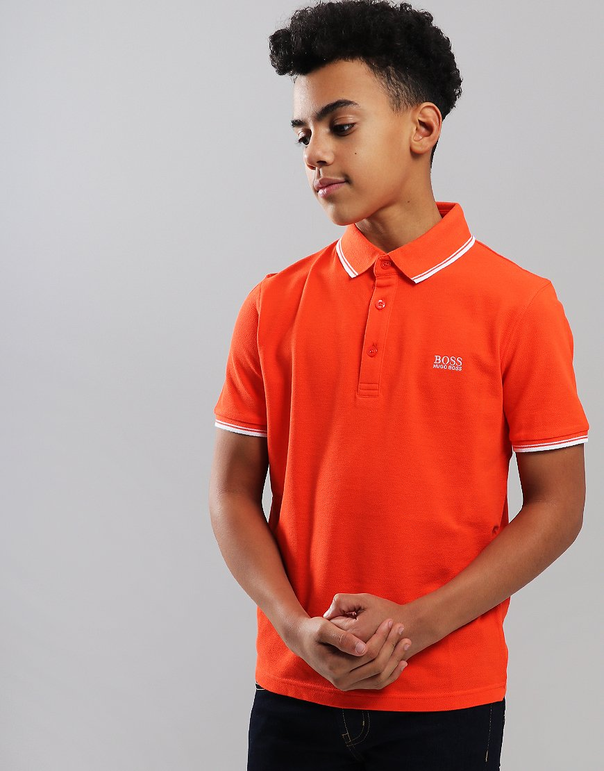 BOSS Kids Tipped Polo Shirt Poppy