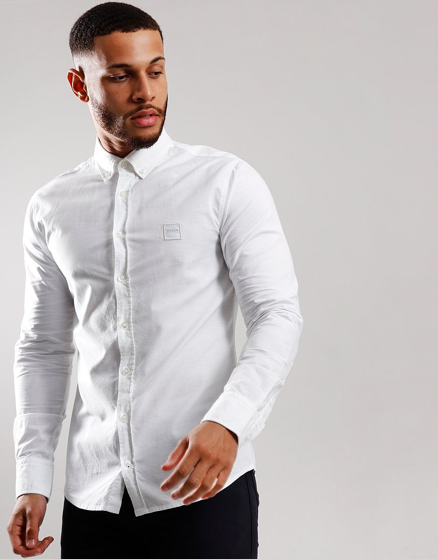 BOSS Mabsoot Long Sleeve Shirt White