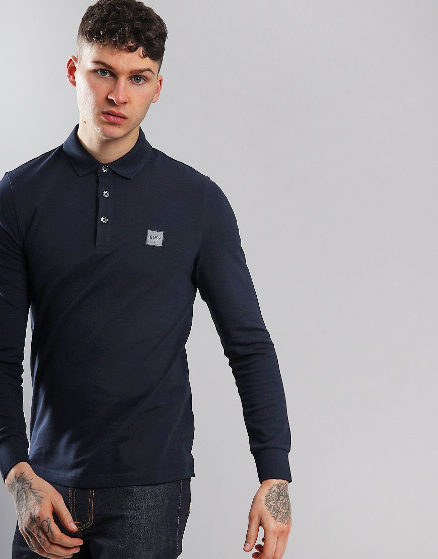 BOSS Passerby Long Sleeve Slim Fit Stretch Polo Shirt Dark Blue