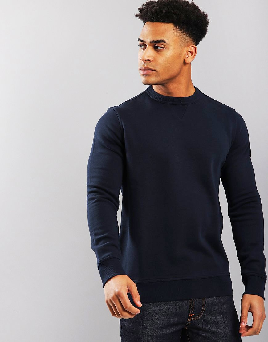 BOSS Walkup Relaxed Fit Crew Neck Sweat Dark Blue