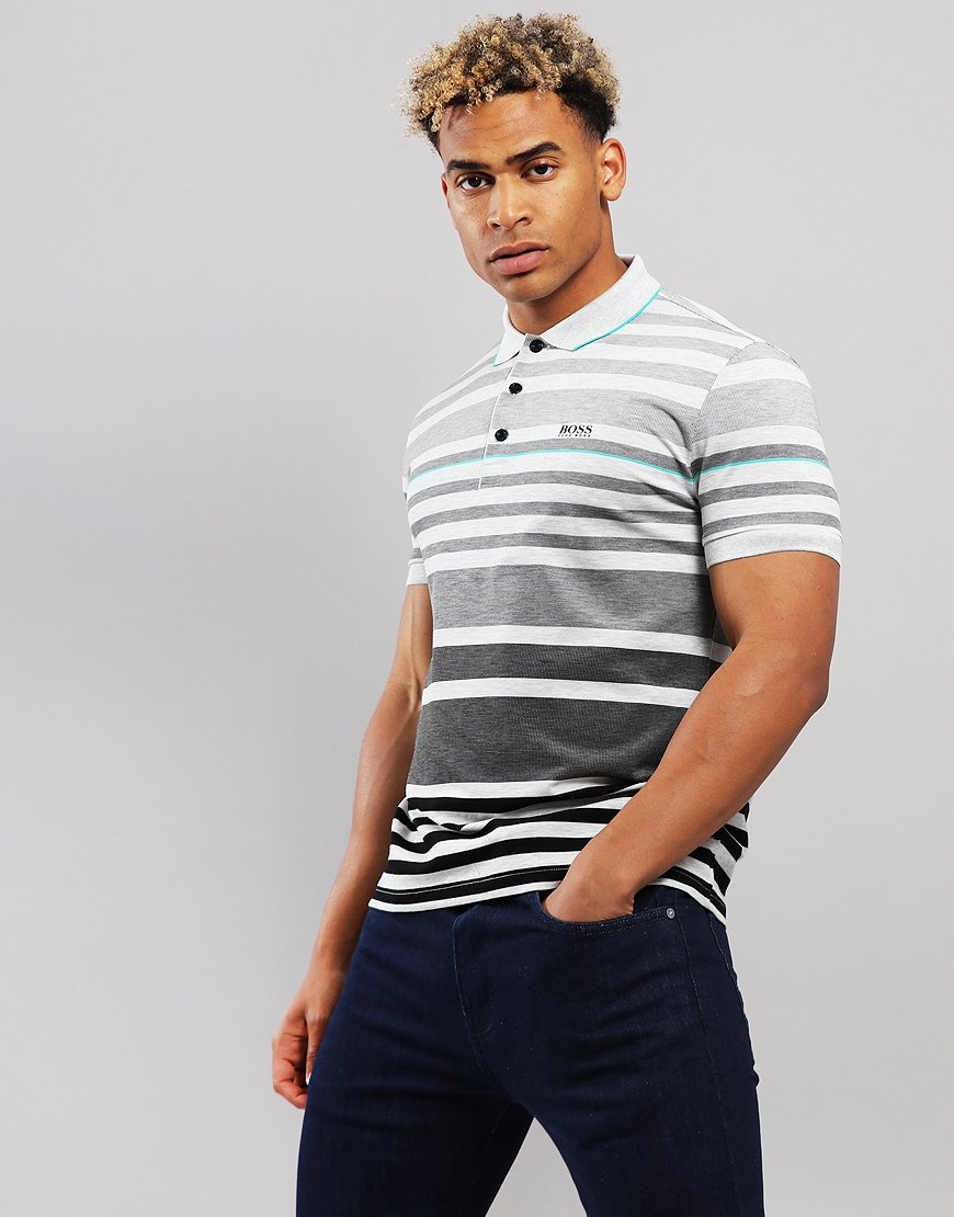 BOSS Paddy 4 Stripe Polo Shirt Black