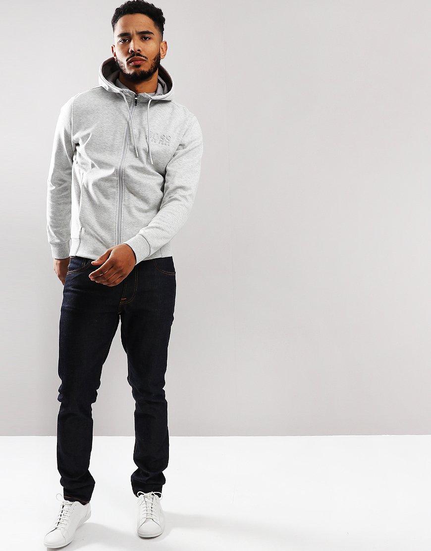 BOSS Saggy Hooded Logo Zip Sweat Light/Pastel Grey