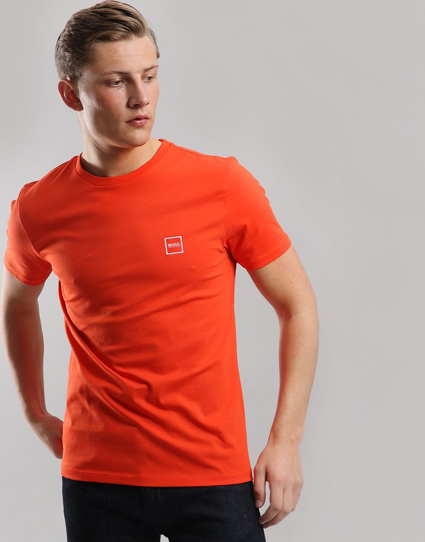 BOSS Tales Crew Neck T-Shirt Open Orange