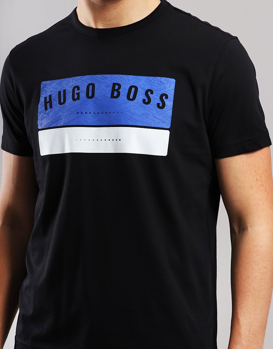 df141605a BOSS Tee 1 High Density Logo Artwork T-Shirt Black - Terraces Menswear