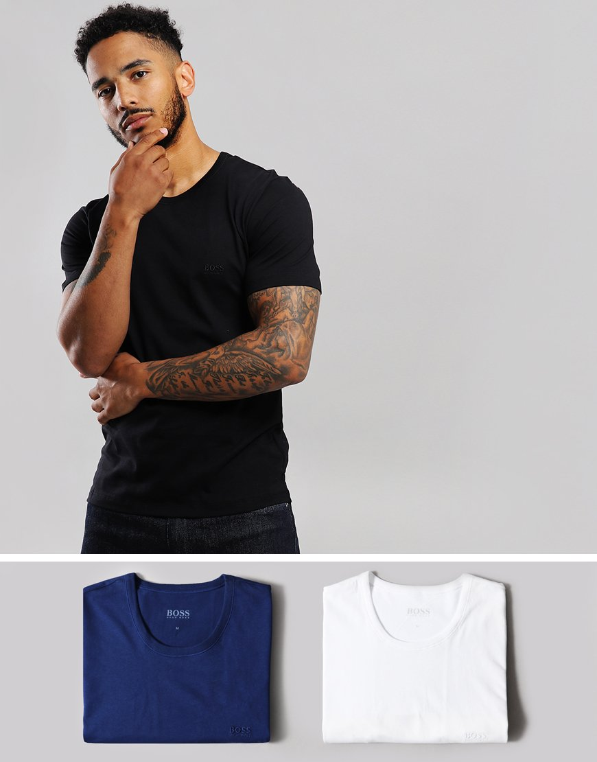BOSS 3 Pack T-Shirts Black/Open Blue/White