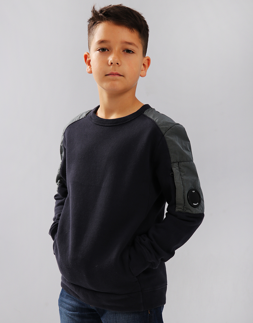 C.P. Company Kids Mixed Fleece Lens Pocket Sweat Total Eclipse