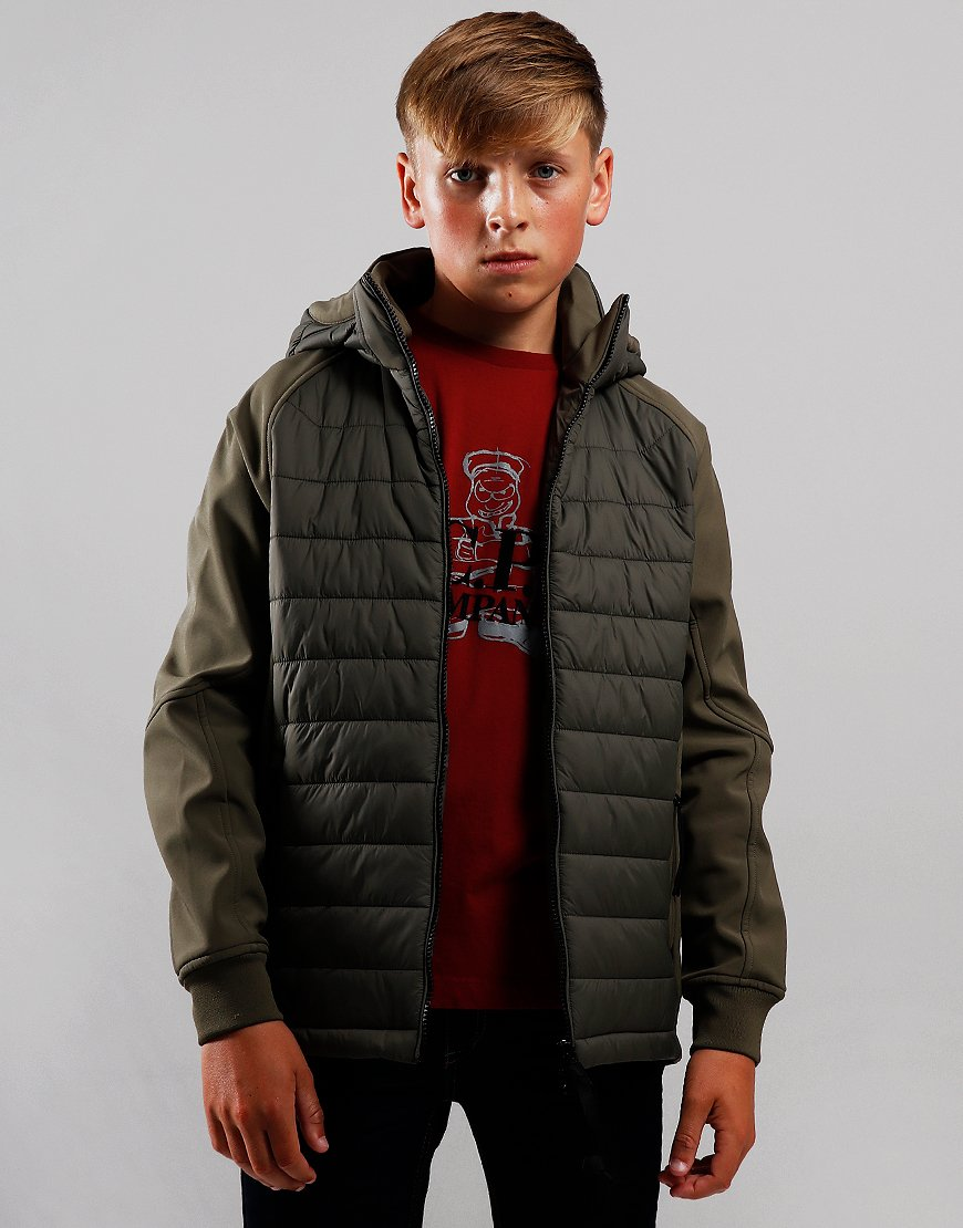 C.P. Company Kids Quilted Panel Goggle Jacket Dusty Olive