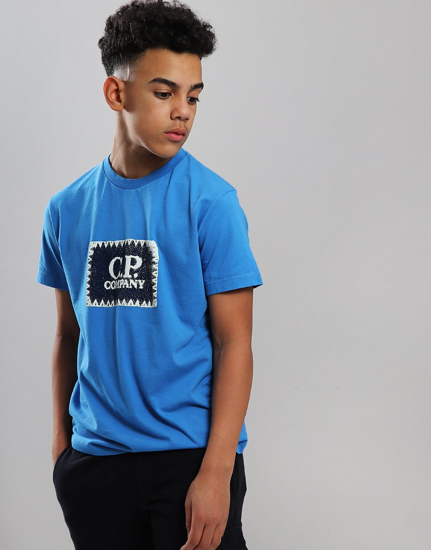 C.P. Company Kids Jersey Label Print T-Shirt Imperial Blue