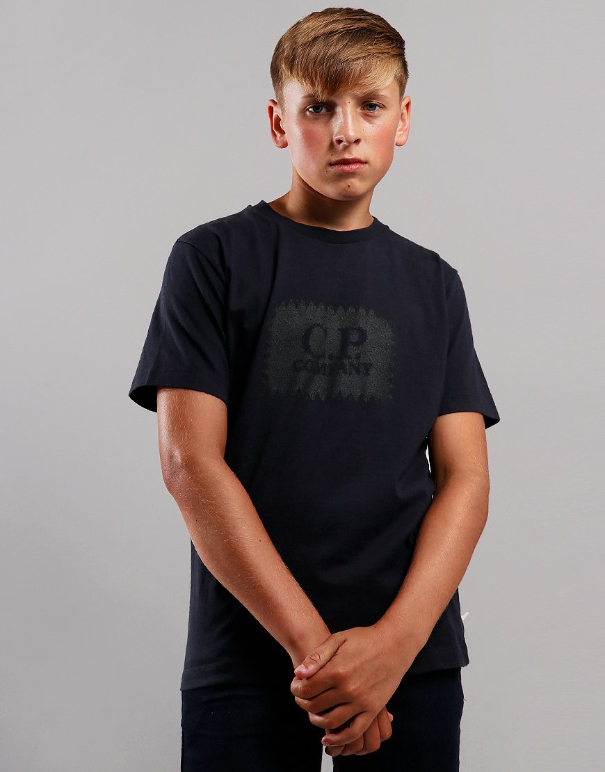C.P. Company Kids Label Print T-Shirt Scooter Total Eclipse