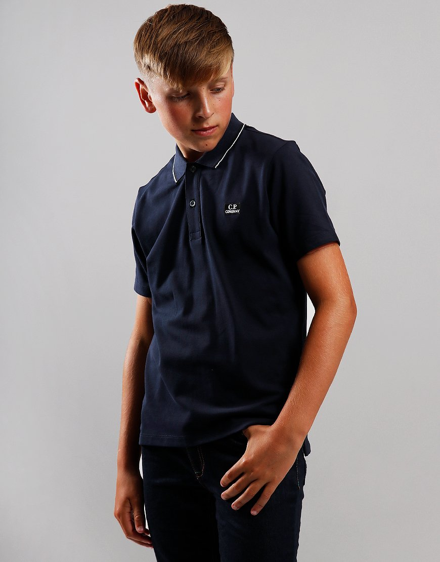 C.P. Company Kids Tipped Polo Shirt Total Eclipse