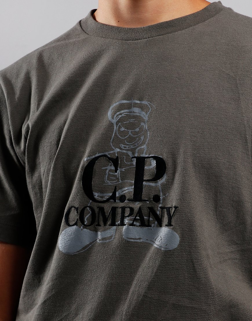 C.P. Company Kids Sailor Print Embroidered T-Shirt Dusty Olive