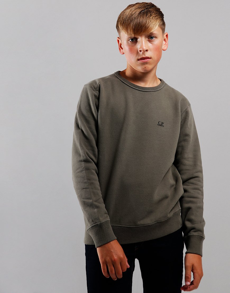 C.P. Company Kids Logo Print Crew Neck Sweat Dusty Olive