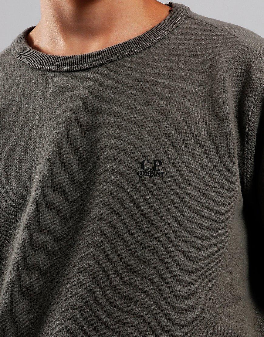 C.P. Company Kids Logo Print Crew Neck Sweat Dusty Olive