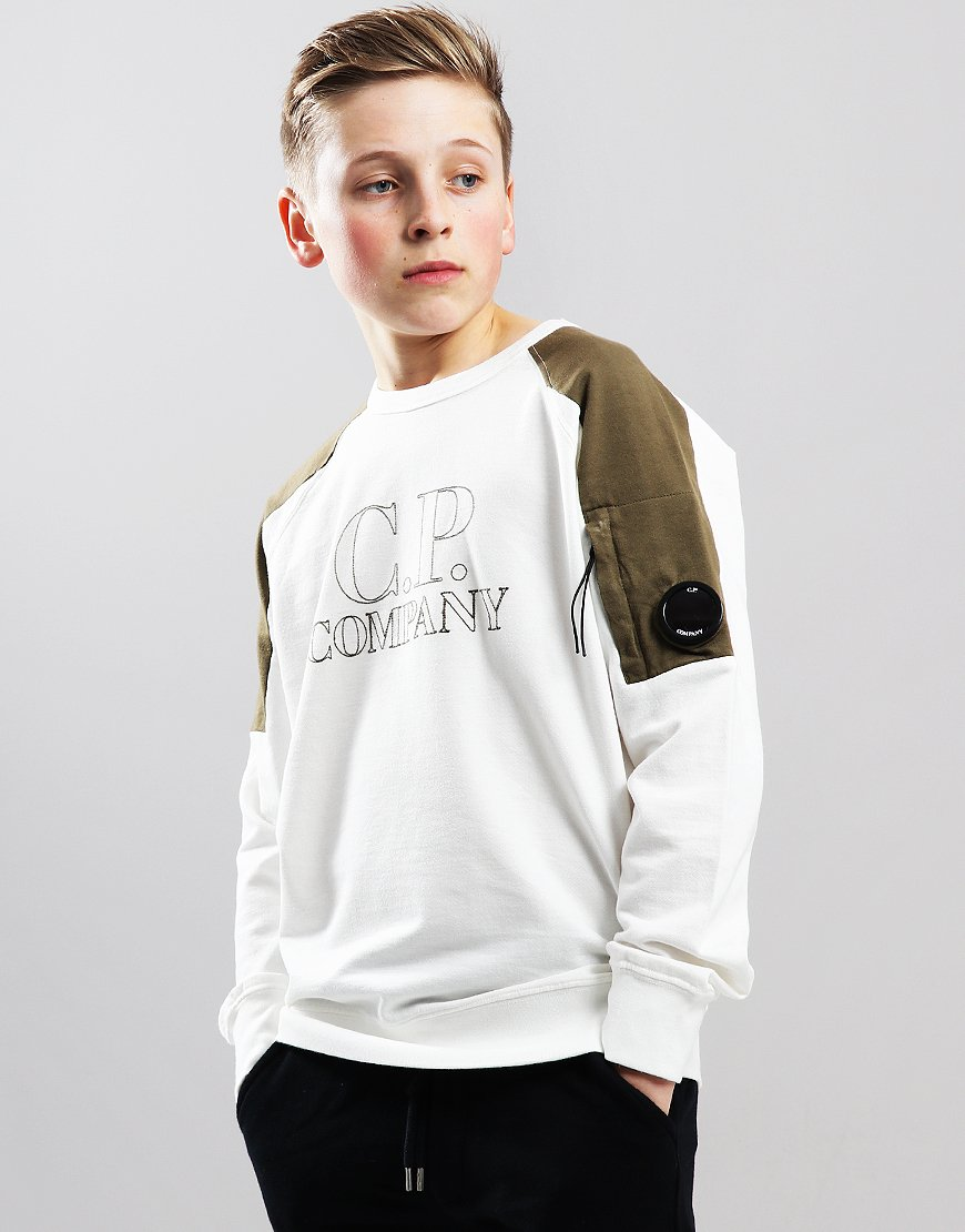 C.P. Company Kids Stitched Logo Sweat Gauze White
